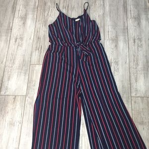 Red white and blue striped jumpsuit romper slit